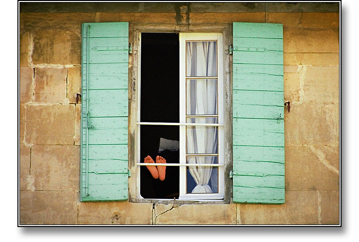Feet at Window, Provence, France - Photograph copyright Stephen Boyle